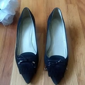Talbots Black Suede Loafer Style Kitten Heels